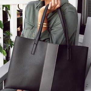 Vince Camuto Simple Black Faux Leather Luck Tote